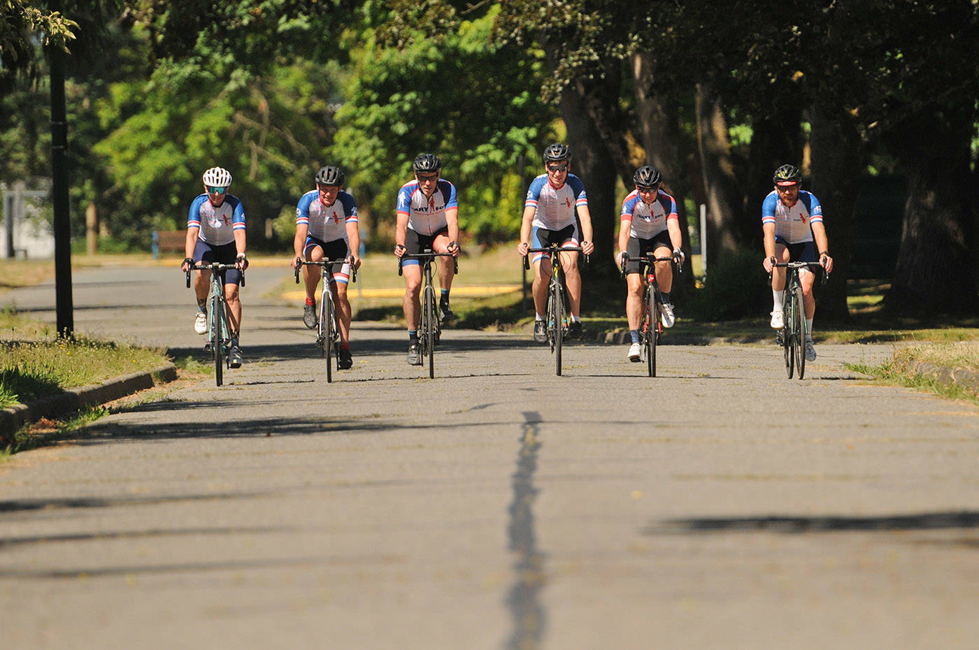 Members of the Fraser Valley Try Like Terry team, including Terry Fox's brother Darrell Fox second from left) are gearing up for their 410-kilometre Ride of Hope fundraiser on July 3, 2021. (Jenna Hauck/ Chilliwack Progress)