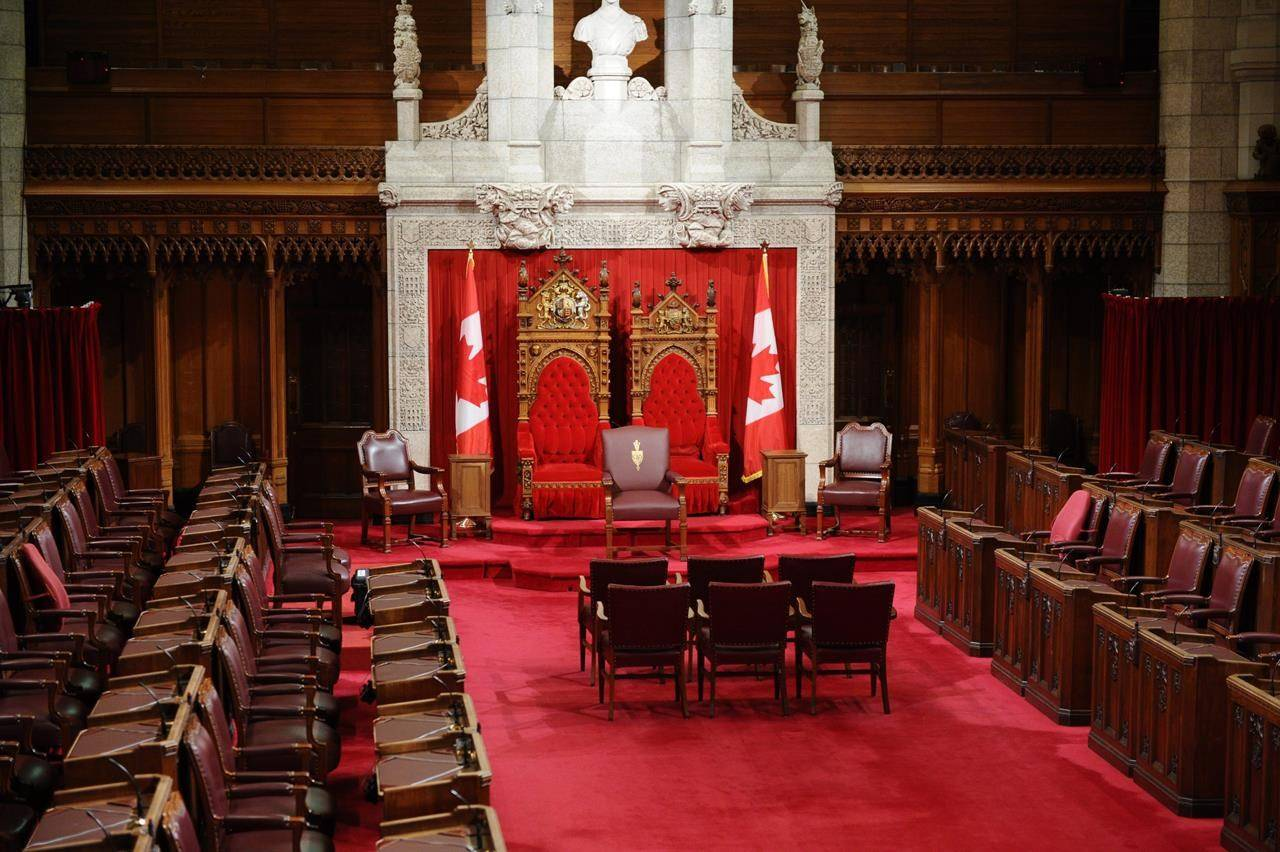 The Senate chamber is shown in Ottawa, Friday June 3, 2011. The Senate is set to hold third-reading debate on bills to implement the Liberal government's budget and to establish net-zero emissions by 2050 before it rises tonight for the summer and a possible fall election. THE CANADIAN PRESS/Sean Kilpatrick