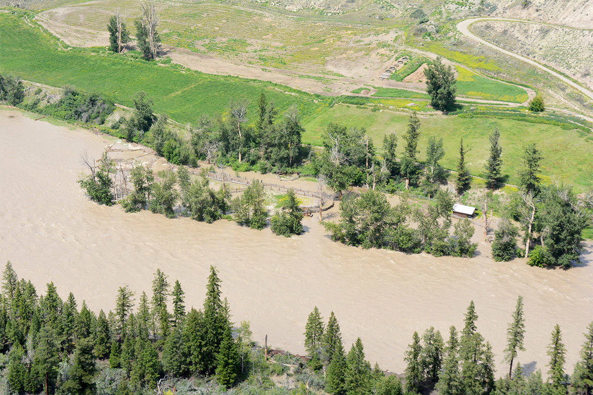 The Chilcotin River below Big Creek, as seen here flooding in July 2019, is under a flood warning in June of 2021 due to high temperatures. (Monica Lamb-Yorski photo)