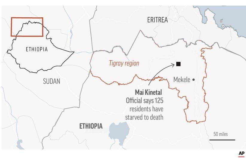 Map locates Mai Kinetal where 125 people have starved to death according of officials.