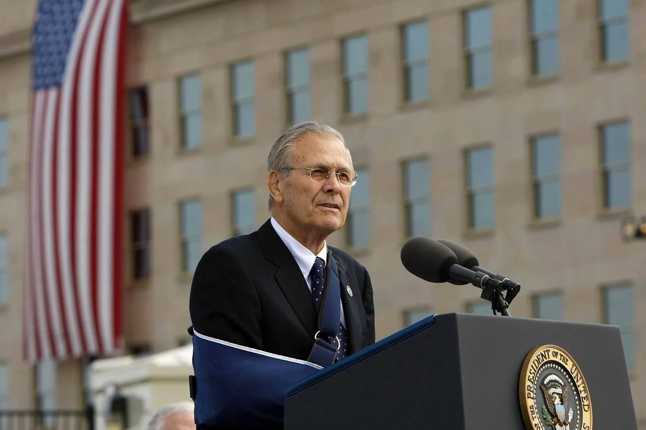 FILE - In this Sept. 11, 2008, file photo, former Defense Secretary Donald Rumsfeld speaks at the dedication of Pentagon Memorial. The family of Rumsfeld says he has died. He was 88. (AP Photo/Pablo Martinez Monsivais, File)