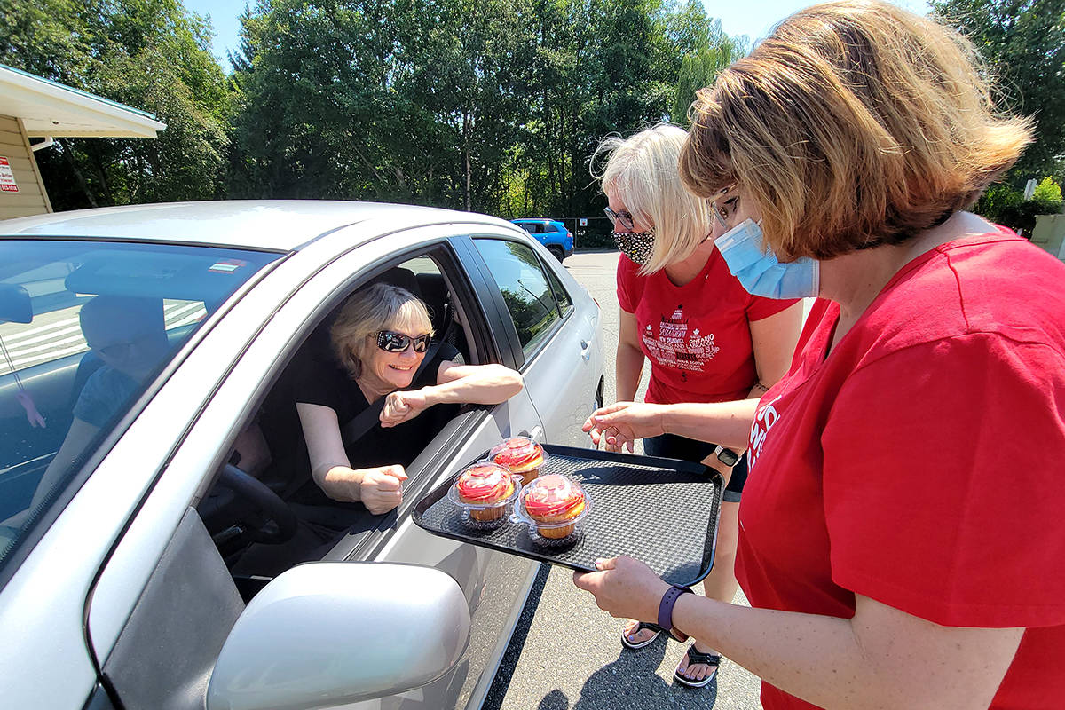 About 75 Canada Day themed cupcakes were consumed during a pre-Canada Day drive-through event at the Langley Senior Resources Centre on June 30. (Dan Ferguson/Langley Advance Times)