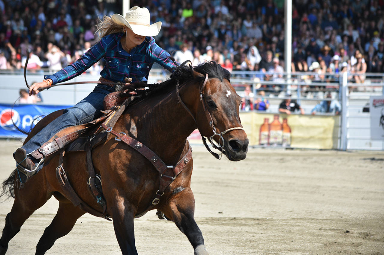 Callahan Crossley heads back from the final barrel during the 2018 Cloverdale Rodeo. (File photo)