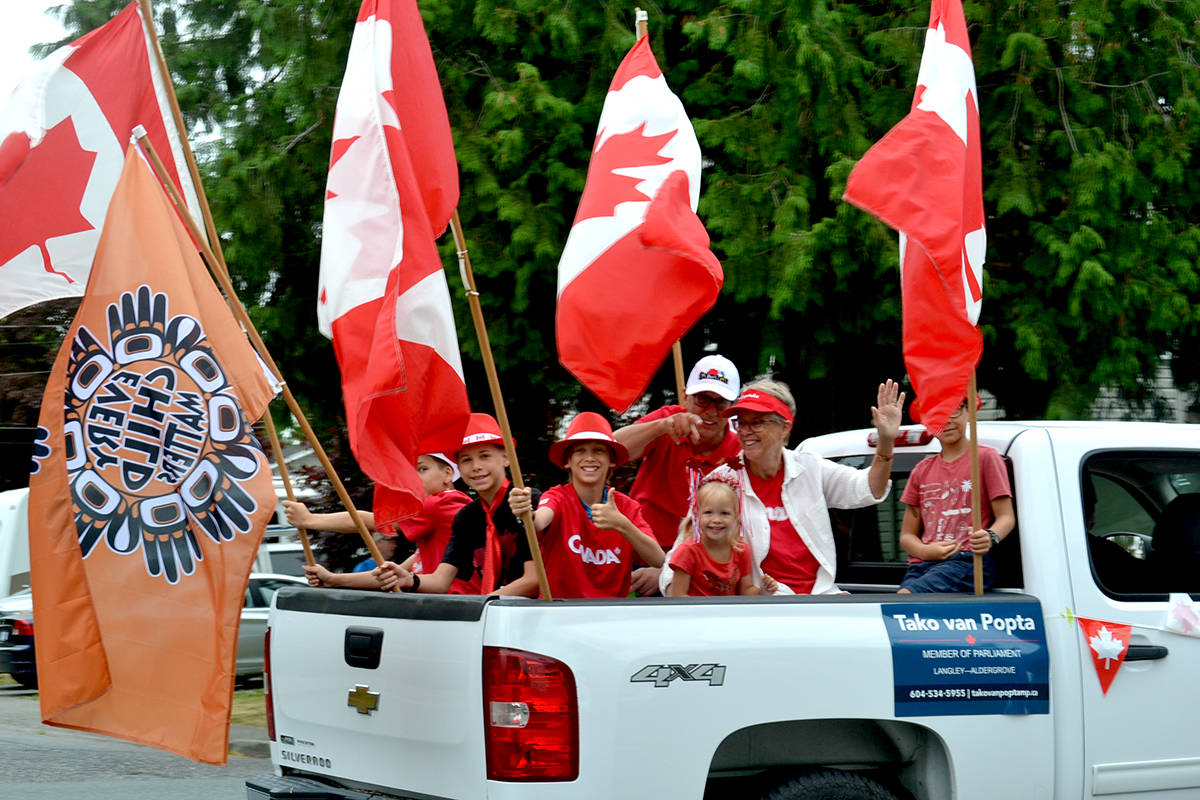 Hundreds took to the streets on July 1 to take in the Aldergrove Canada Day parade. (Ryan Uytdewilligen/Aldergrove Star)