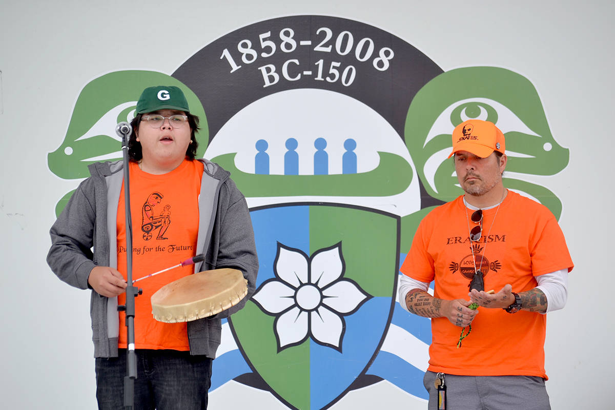 Amid the discovery of mass unmarked children graves at Residential schools, Kwantlen First Nations were invited to Aldergrove Plaza to speak about what can be done to help. (Ryan Uytdewilligen/Aldergrove Star)