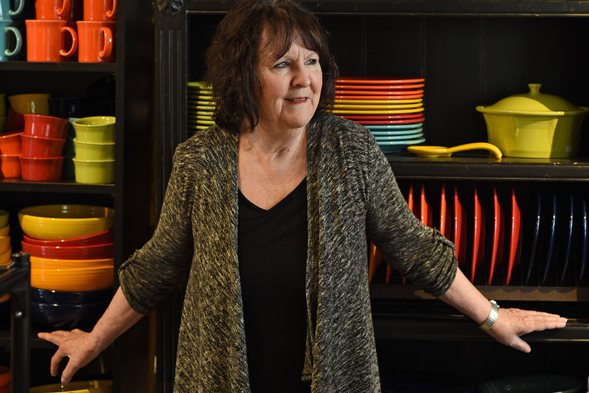 Terry Raven in her Pots and Paraphernalia shop in Duncan. Don Denton photograph
