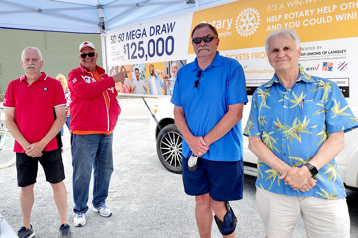 Rotary Lottery sales kicked off in person at Aldergrove Plaza on Canada day. (Pauline Buck/Special to The Star)