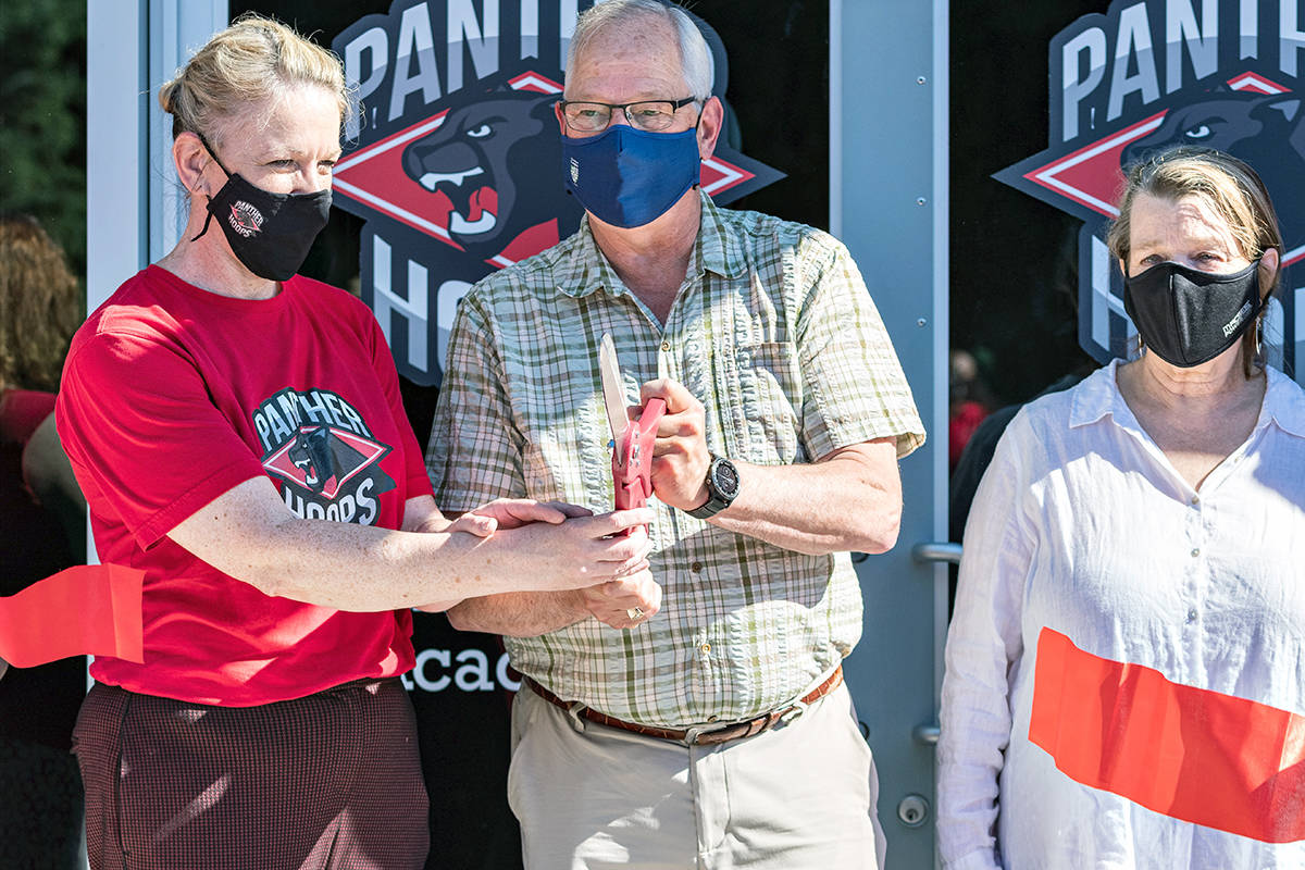 Langley mayor Jack Froese officiated at the opening of the new Panther Hoops Basketball Academy facility in Langley. (Keith Daley/Special to Langley Advance Times)