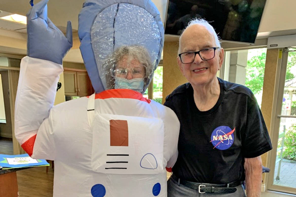 Langley's John Kromhoff turned 100 on June 24 with a NASA-themed birthday that included an astronaut. (Special to Langley Advance Times)
