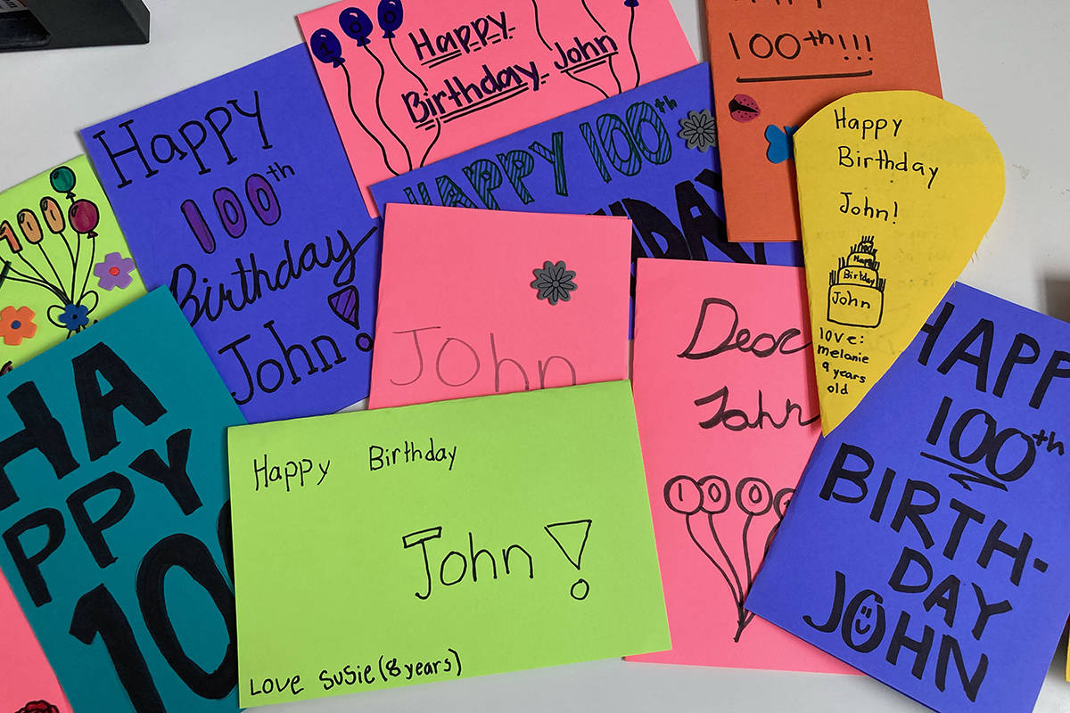 Some of the handmade cards created by young Flip City gymnasts in Langley for John Kromhoff, who turned 100 on June 24.(Special to Langley Advance Times)