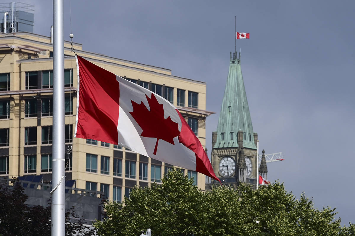 Canada flags continue to fly at half-mast in Ottawa on Monday, June 28, 2021. There are growing calls for the cancelation of Canada Day celebrations on July 1st and for there to be a day of morning instead following the discovery of almost one thousand graves at residential schools in Canada. THE CANADIAN PRESS/Sean Kilpatrick