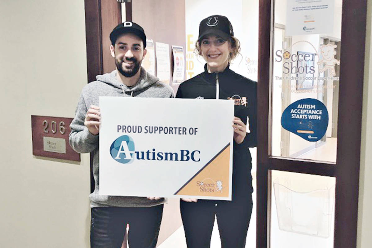 Andy Abreo (President) and Kathrin Arcari (Executive Director) from Soccer Shots announced a program that will donate $5 to Autism B.C. out of every summer registration fee. (Special to Langley Advance Times)