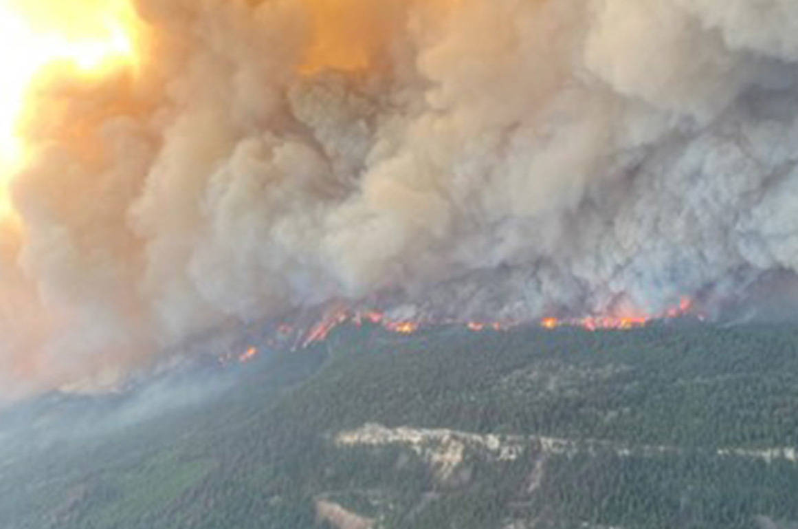 Aerial footage of Sparks Lake wildfire taken on June 30, 2021. (BCWS handout)