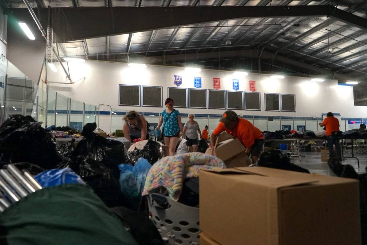 Donations are pouring in at the Shulus Community Arena in Lower Nicola for Lytton evacuees. Everything from food to clothes to bedding is being donated by locals. (Michael Rodriguez/Black Press Media)