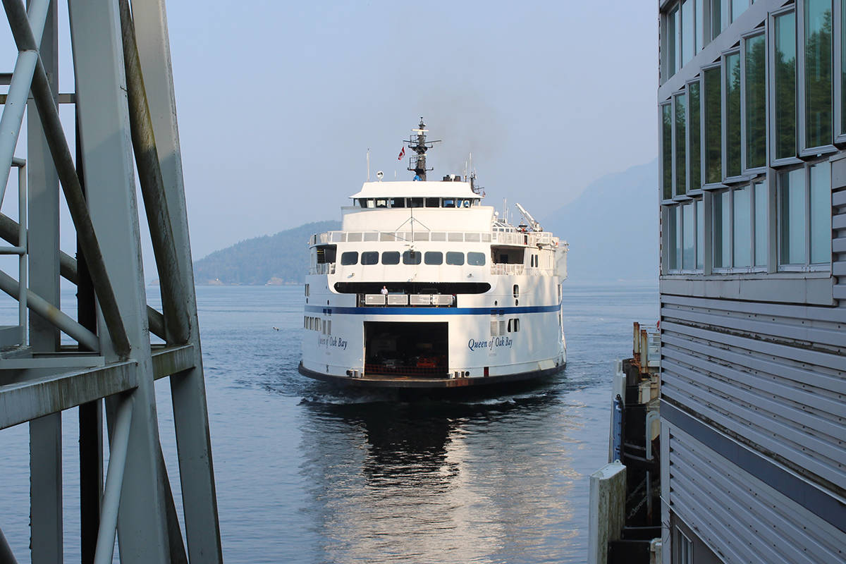 The BC Ferries vessel the Queen of Oak Bay arrives at Horseshoe Bay terminal. (News Bulletin file photo)
