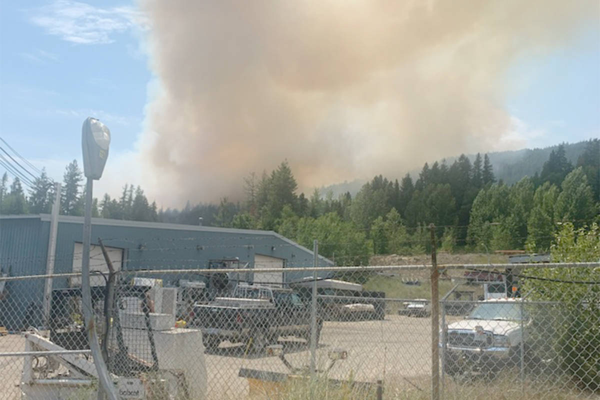 Fire near Meadowbrook Drive in Castlegar. Photo: Submitted