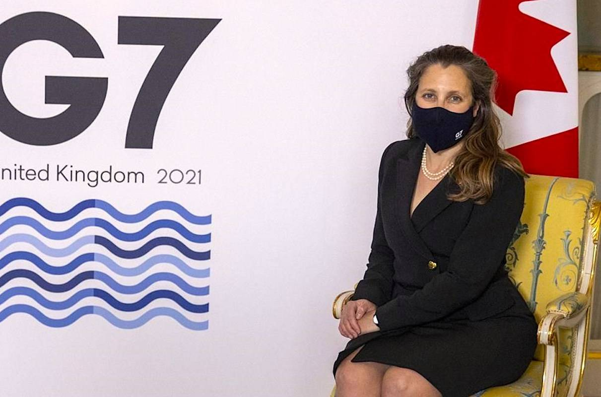 Canada's Finance Minister Chrystia Freeland, is shown ahead of the G7 finance ministers meeting at Lancaster House in London, Friday June 4, 2021. THE CANADIAN PRESS/Steve Reigate/Pool via AP