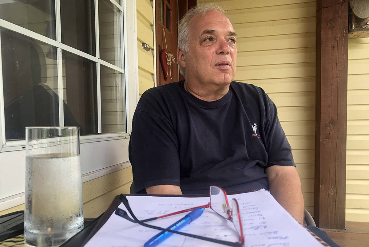 Lytton Mayor Jan Polderman in Maple Ridge, B.C., on July 1, 2021, as he waits for details on the 9,000-hectare wildfire that destroyed at least 90 per cent of the village the day prior. (Ashley Wadhwani/Black Press Media)
