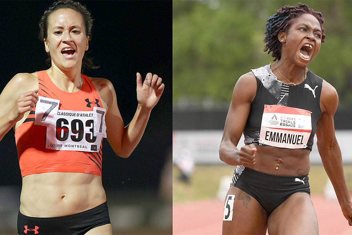 Regan Yee and Crystal Emmanuel ensure Toyko qualifier series ended in style. (Athletics Canada/Special to Langley Advance Times)