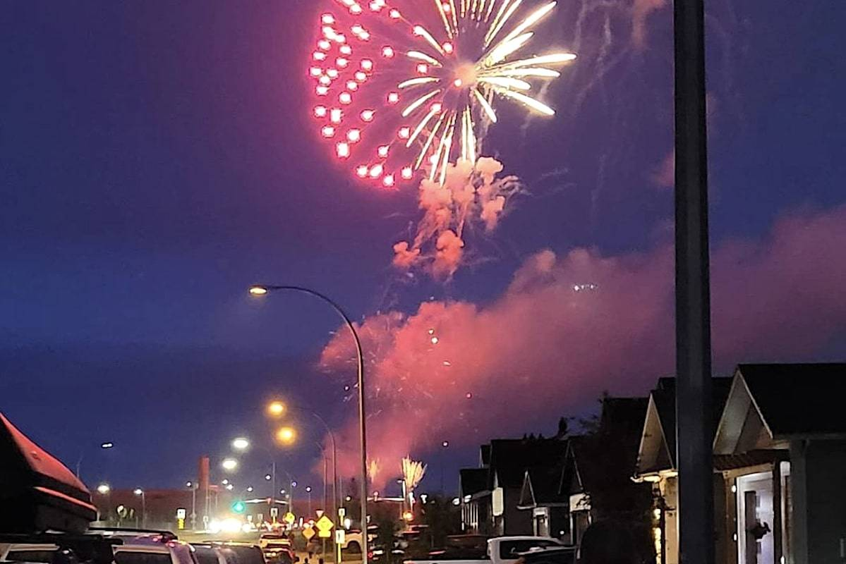 Skies over Fort St. John were ignited by a municipal display of fireworks this Canada Day, despite a province-wide fire ban and 119 wildfires that have recently sparked across B.C. (Instagram/Yvett Michna)