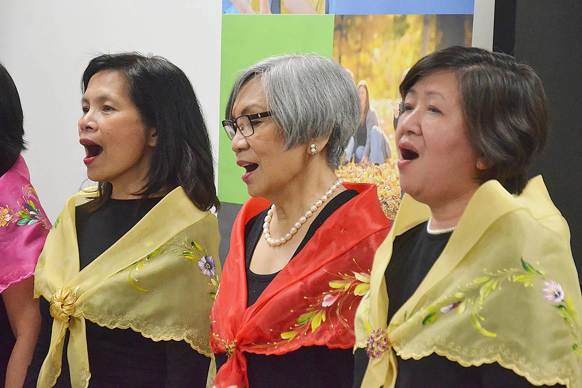 Members of a Filipino choir sang Oh Canada and the Filipino national anthem, Lupang Hinirang, at a celebration of Filipino-Canadian culture on June 25. (Matthew Claxton/Langley Advance Times)