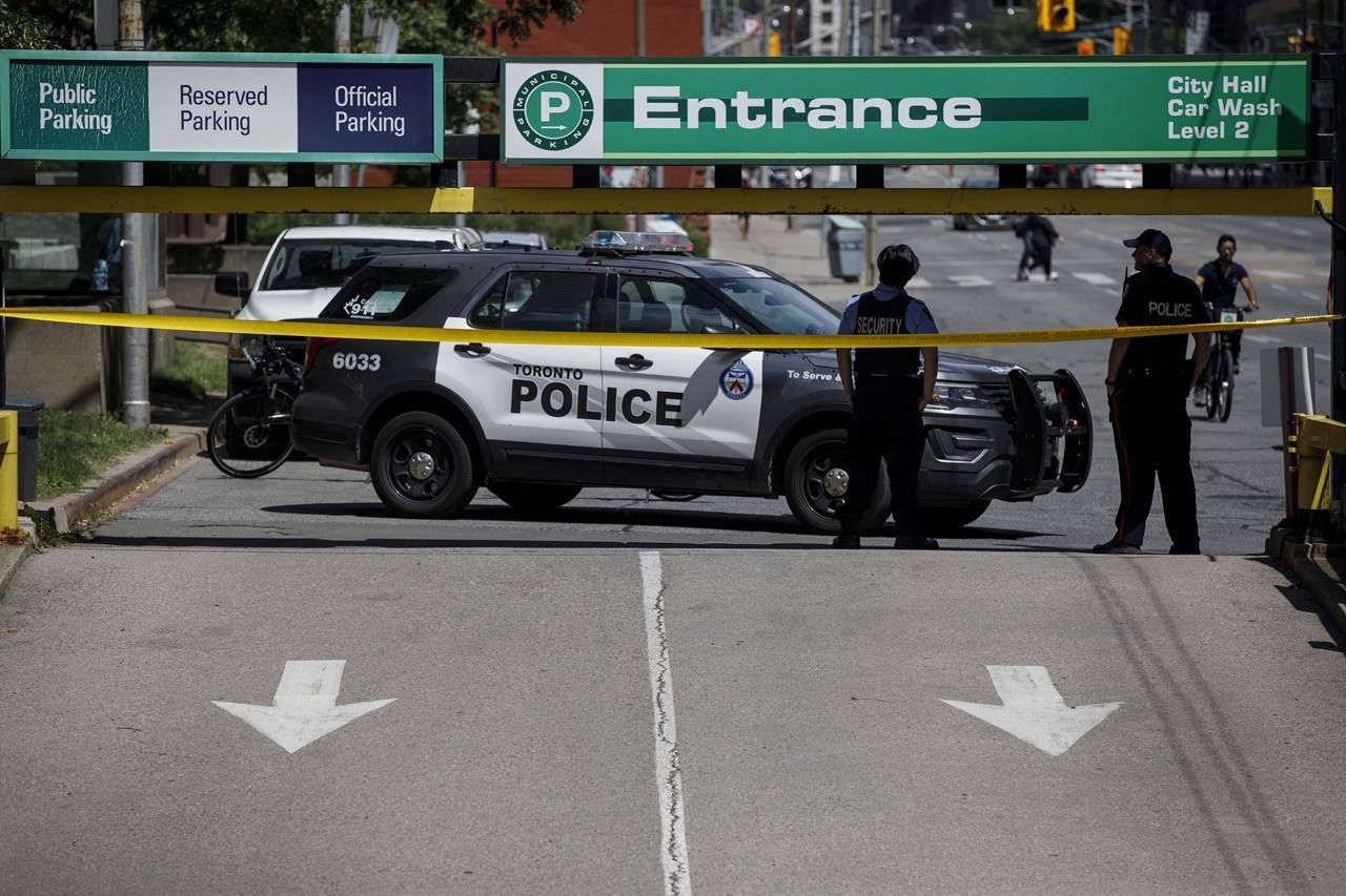 The entrance to Toronto City Hall's parking garage where a Toronto Police officer was killed in the morning hours of Friday, July 2, 2021. THE CANADIAN PRESS/Cole Burston