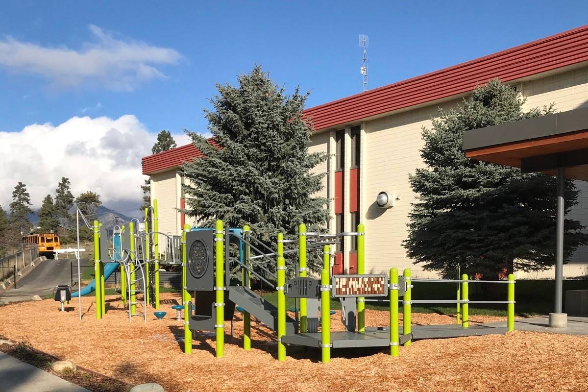 A new playground was recently installed at Kumsheen ShchEma-meet School in Lytton, which has survived the fire that destroyed nearly 90 per cent of the town. (Photo credit: School District No. 74)