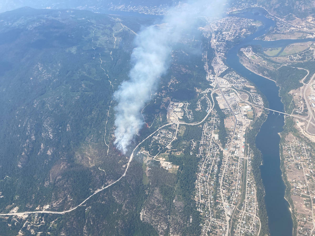 An aerial view of the Merry Creek fire taken July 1 by the BC Wildfire Service.