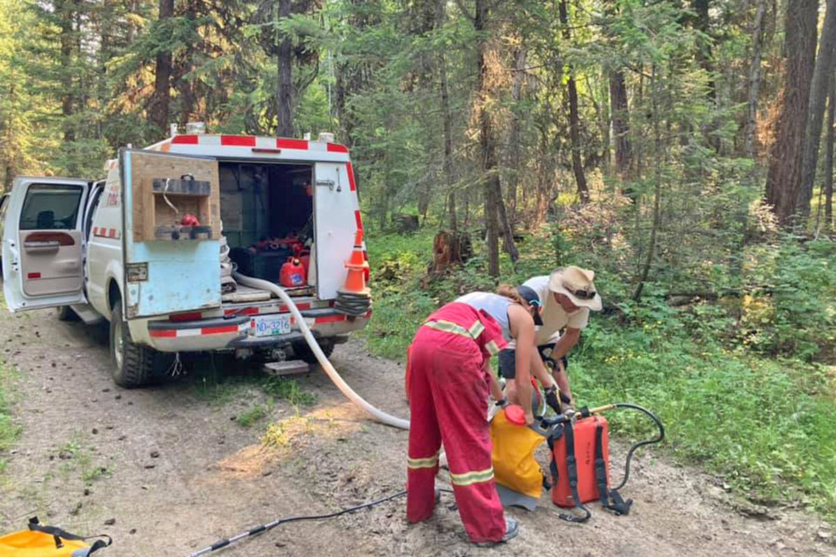 A lightning-caused fire was extinguished at McLeese Lake Thursday, July 1. (Ian Hicks photo)