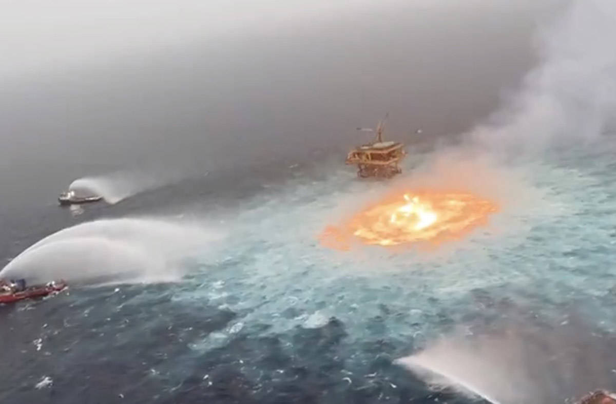 The leak near dawn Friday, July 2, 2021, occurred about 150 yards (meters) from a drilling platform in the Gulf of Mexico. (Manuel Lopez San Martin/Twitter)