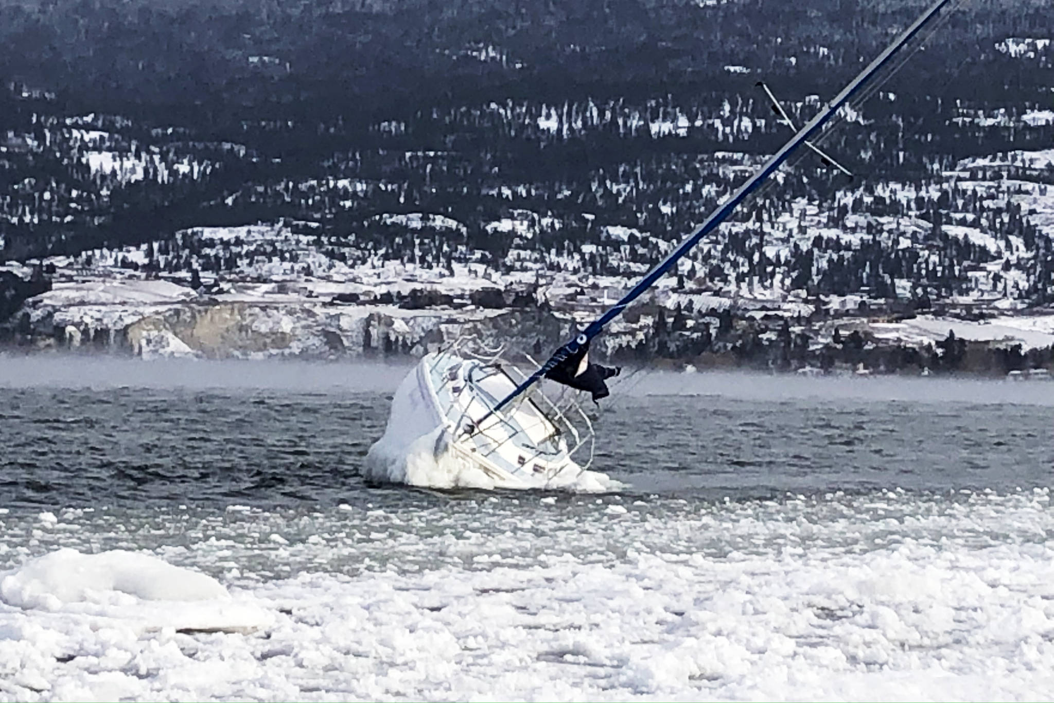 In the winter of 2020, an ice-covered sailboat was found in the water near Summerland Beach RV Park north of Trout Creek. (John Arendt/Summerland Review)