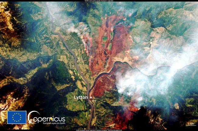 Lytton on July 2, 2021. (European Union, Copernicus Sentinel-2 imagery)