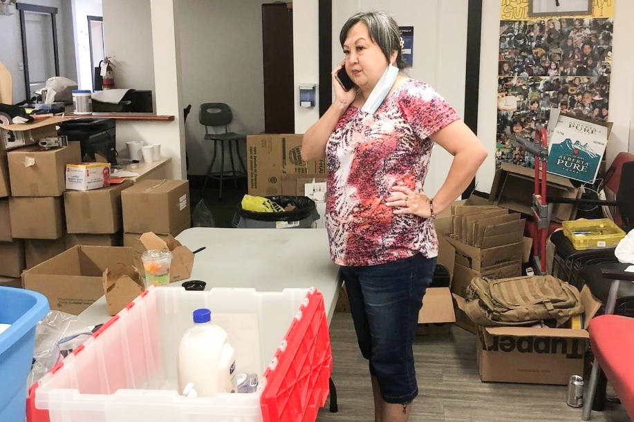 Katzie Chief Grace George helps organize donations. (Katzie First Nation/Special to The News)
