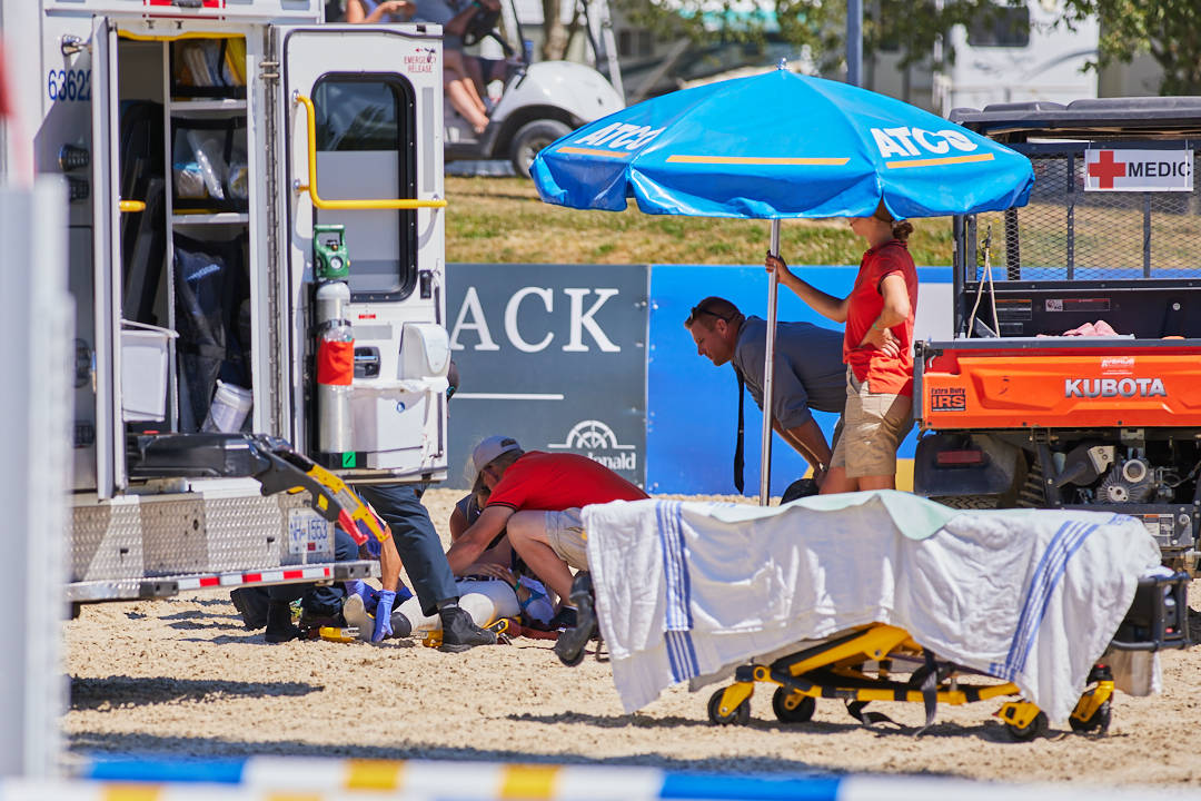 Alberta rider, Molly Compton, took a fall during competition at Langley's Thunderbird Show Park on Sunday, July 4, 2021. Park officials confirmed she is expected to make a full recovery. (Rob Wilton/RJMedia Photography)
