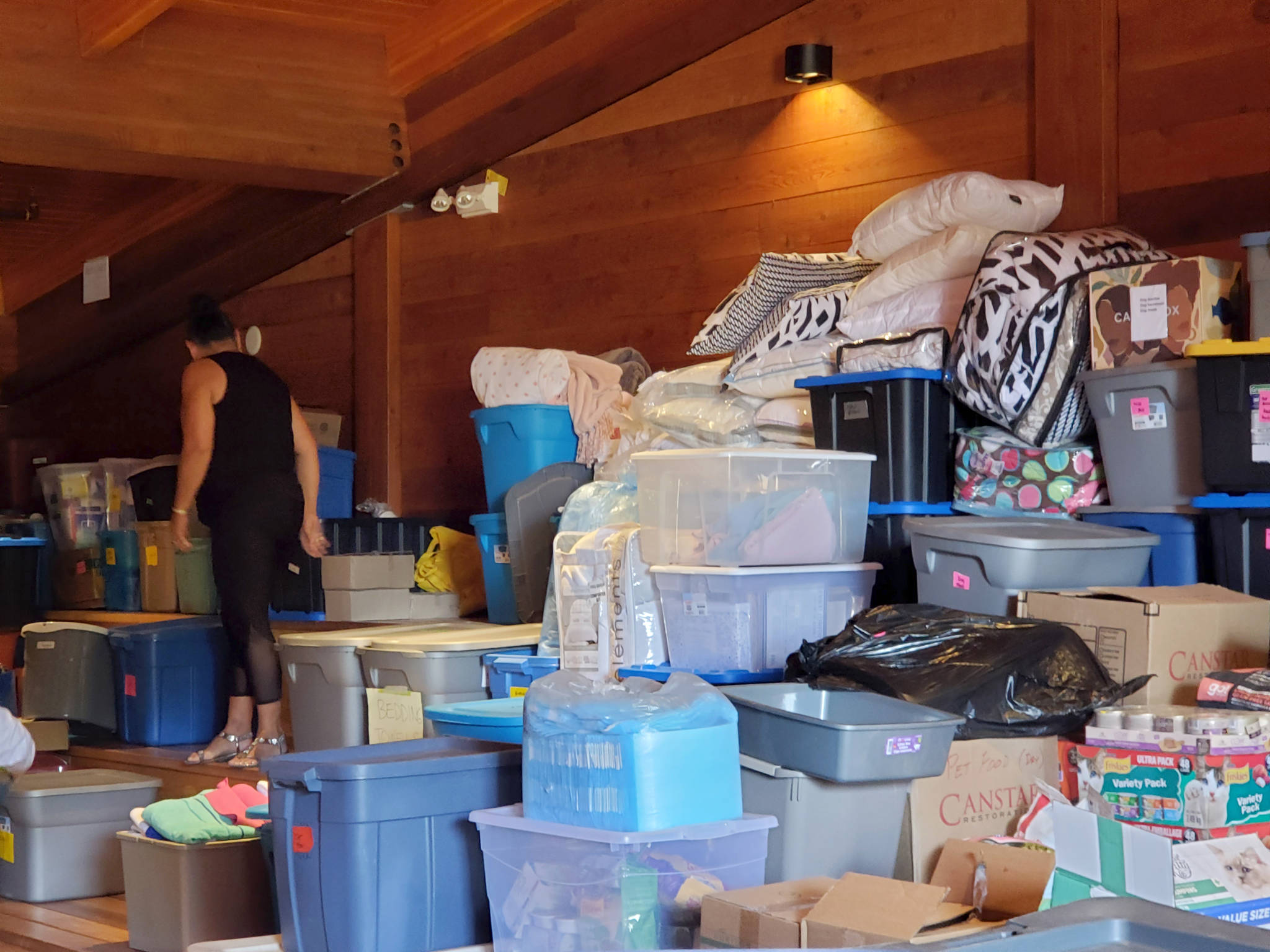 The Kwantlen and Katzie First Nation were at the Kwantlen Cultural Centre on Monday, July 5, 2021 to help organize supplies for those affected by the Lytton wildfire. (Cecelia Reekie/Special to Langley Advance Times)
