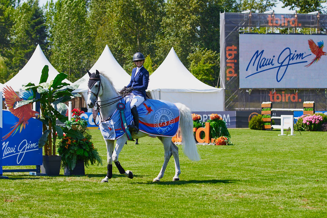 """Tamie Phillips and """"Ecatino"""" took top honours on Sunday, July 4, 2021 at Thunderbird Show Park with the Maui Jim $20,000 Grand Prix. (Rob Wilton/RJMedia Photography)"""