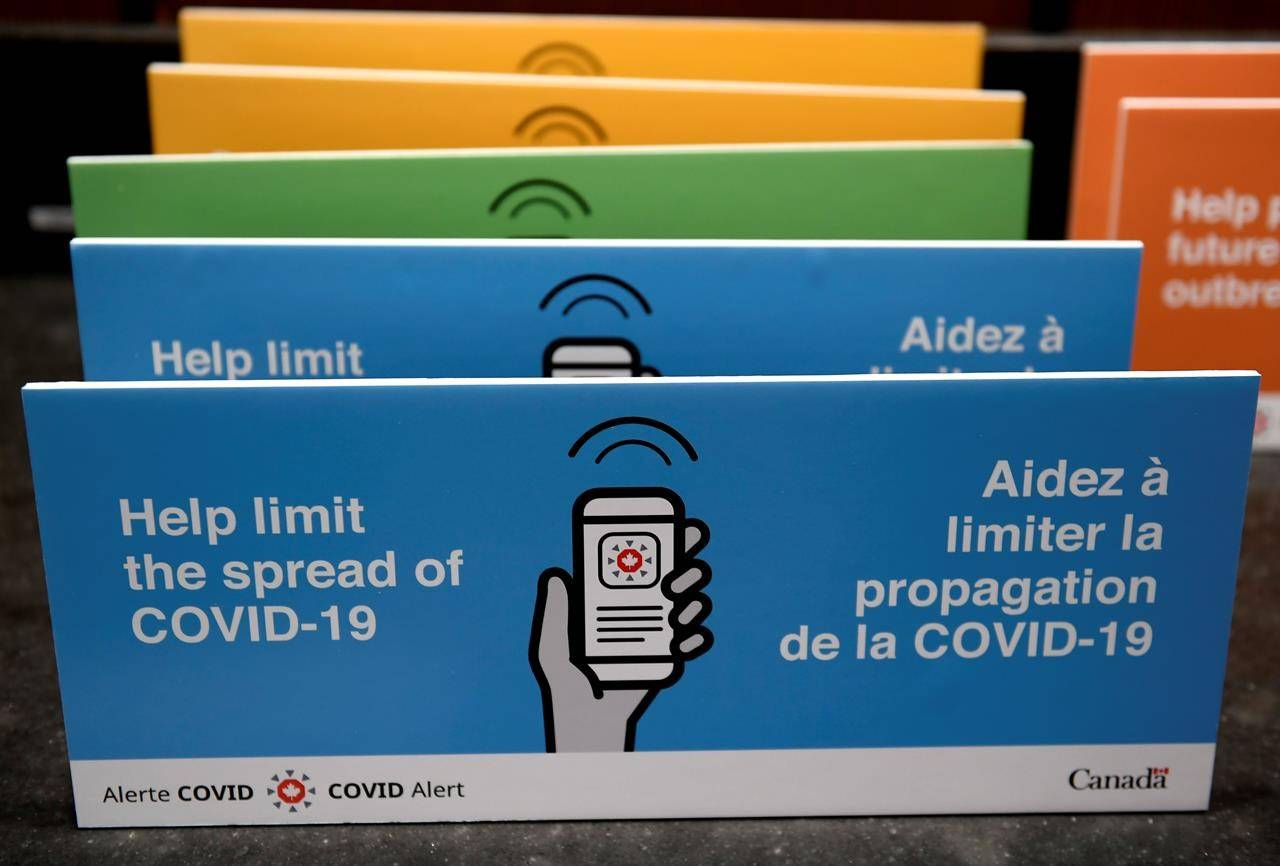 Podium placards promoting the COVID Alert app are seen on a table on Parliament Hill in Ottawa, on July 31, 2020. THE CANADIAN PRESS/Justin Tang