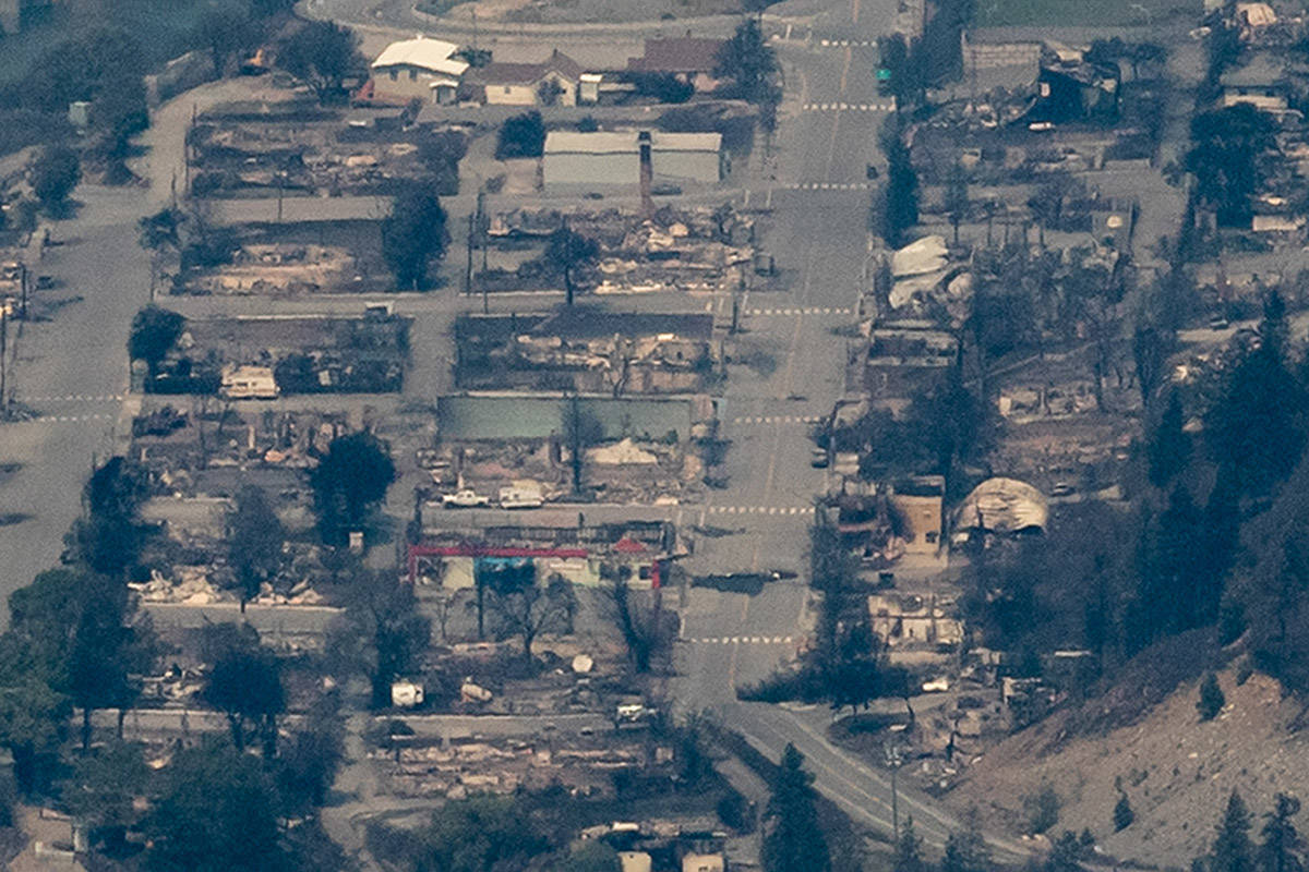Structures destroyed by wildfire are seen in Lytton, B.C., on Thursday, July 1, 2021. THE CANADIAN PRESS/Darryl Dyck