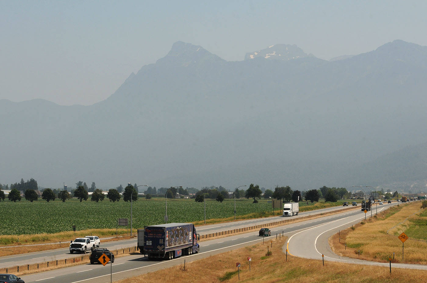A view of Mt. Cheam looking east from Prest Road on Tuesday, July 6, 2021. (Jenna Hauck/ Chilliwack Progress)