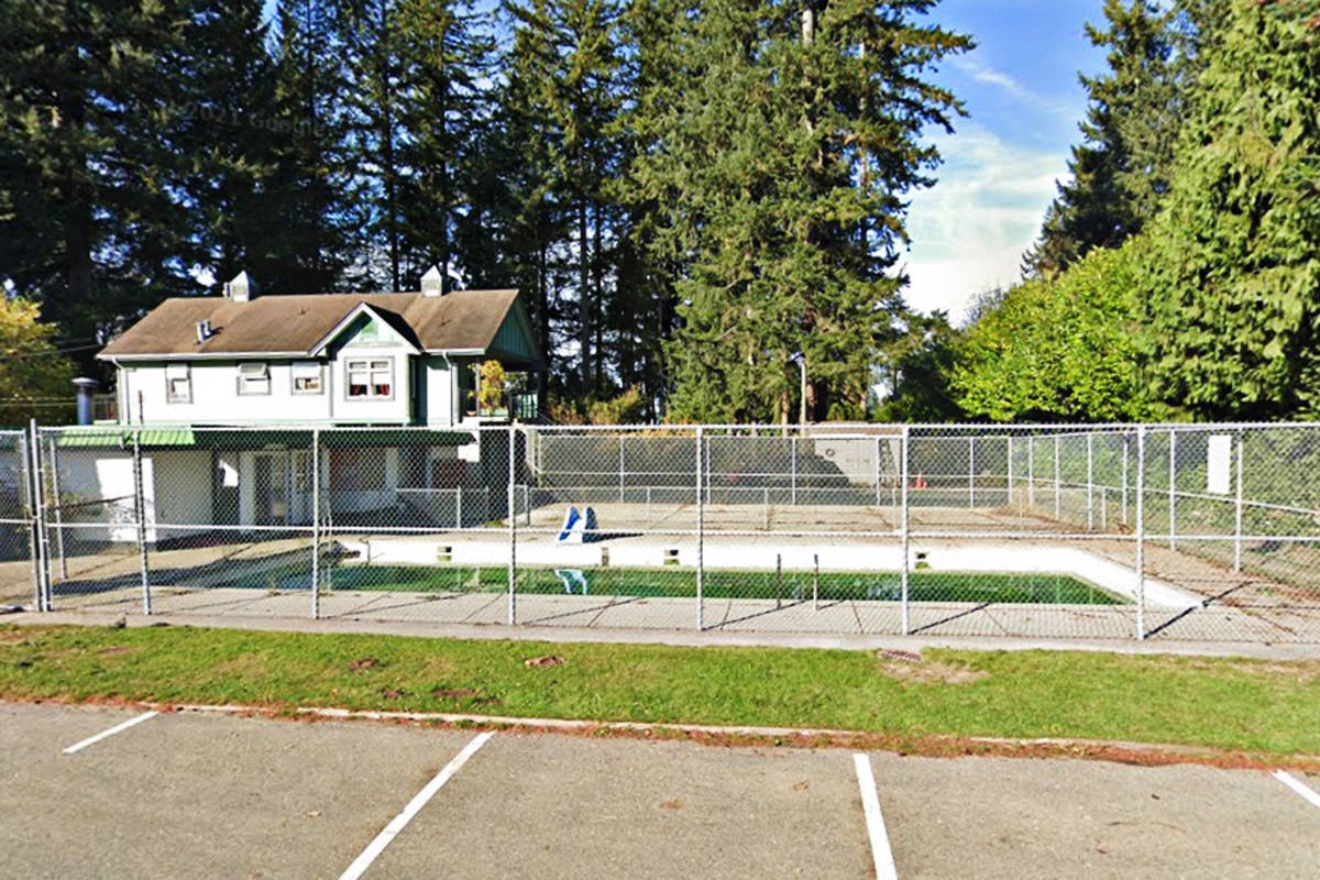 The only outdoor pool in North Langley is closed. The Township has decided to replace the Fort Langley Pool with a spray park (Google Maps grab)