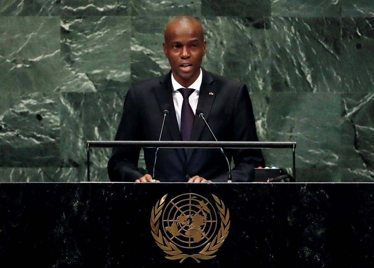 FILE - In this Sept. 27, 2018, file photo, Haiti's President Jovenel Moise addresses the 73rd session of the United Nations General Assembly, at U.N. headquarters in New York. Moïse was assassinated after a group of unidentified people attacked his private residence, the country's interim prime minister said in a statement Wednesday, July 7, 2021. Moïse's wife, First Lady Martine Moïse, is hospitalized, interim Premier Claude Joseph said. (AP Photo/Richard Drew, File)
