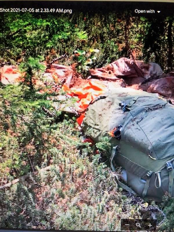 Jordan Naterer's backpack, tent and jacket were discovered by volunteer searchers Sunday July 4. Photo Facebook