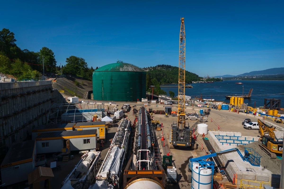 A tunnel boring machine drills to accommodate pipelines through Burnaby Mountain to connect to the expanded Westridge Marine Terminal, May 2021. The twinning project is a quarter completed, with active construction in Alberta and across B.C. (Trans Mountain photo)