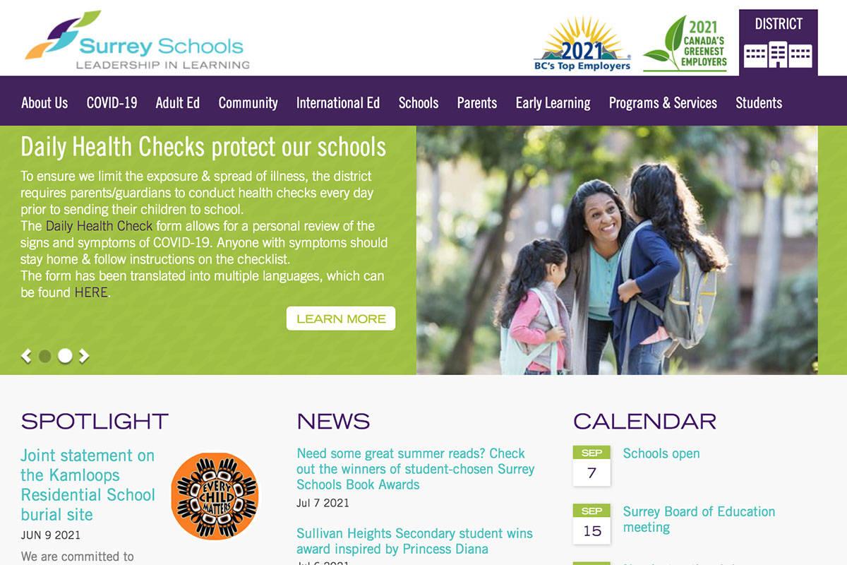Surrey Schools website. (Screenshot)
