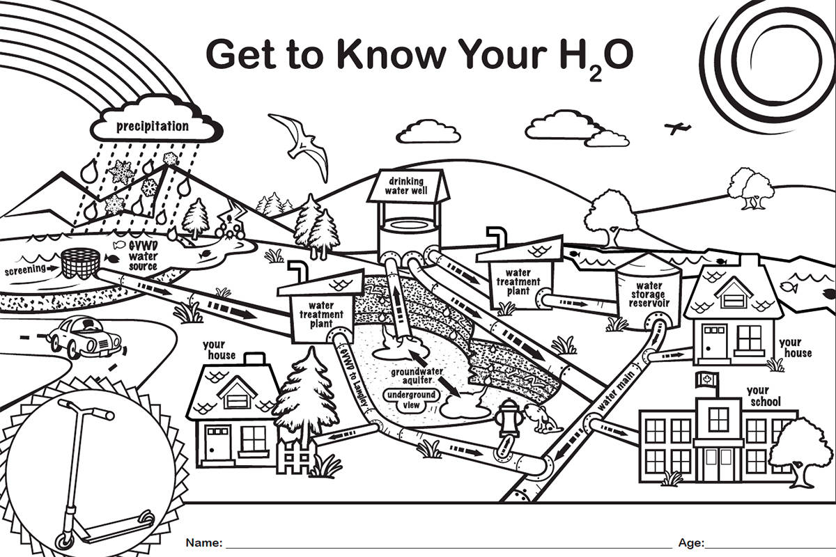 Langley Environmental Partners Society encourage youth under 12 who live in the Township of Langley to 'Get to Know your H20' by colouring a diagram that describes the sources of drinking water in the municipality. (Special to The Star)