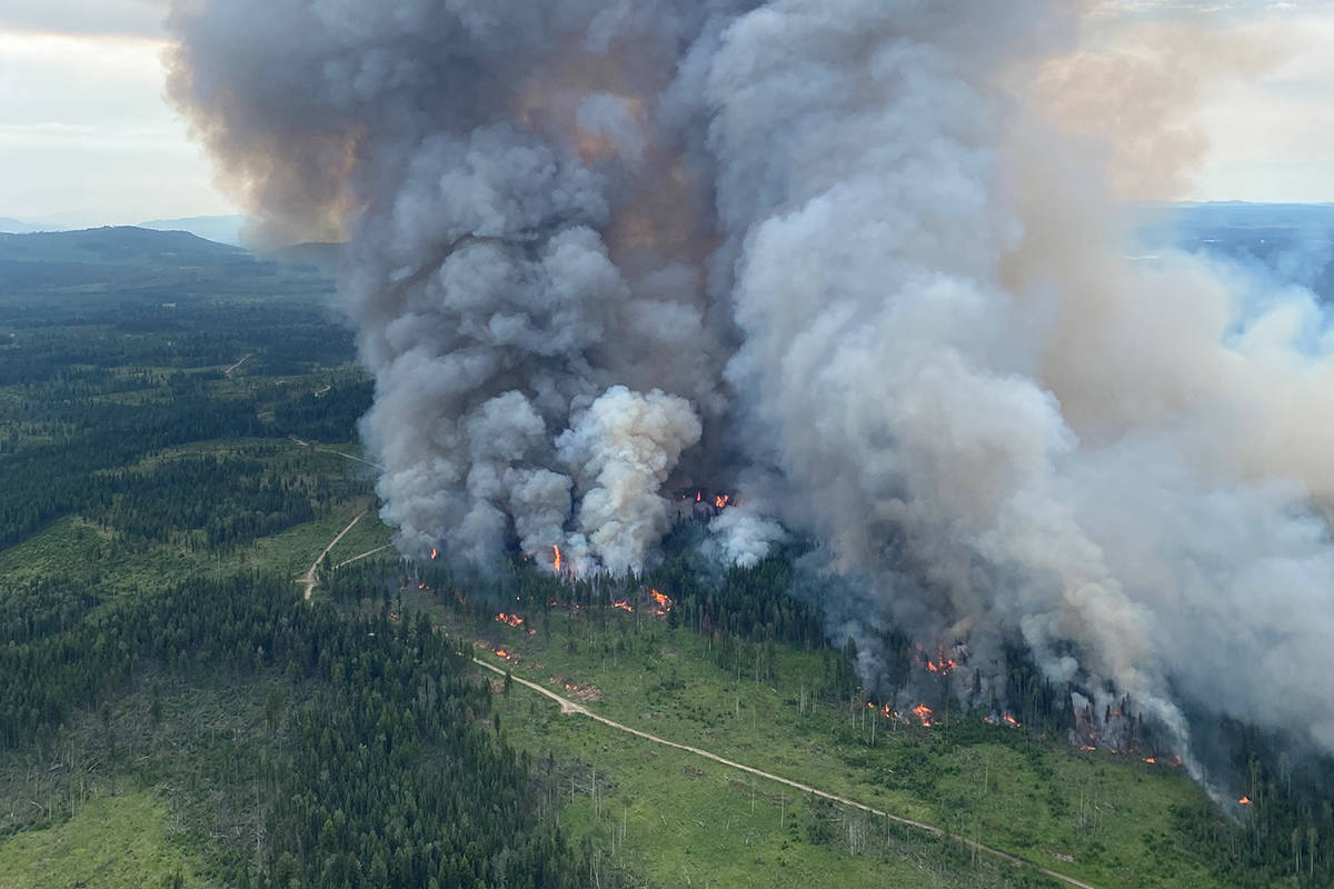 A controlled burn at Deka Lake in early July 2021. (BC Wildfire Service)