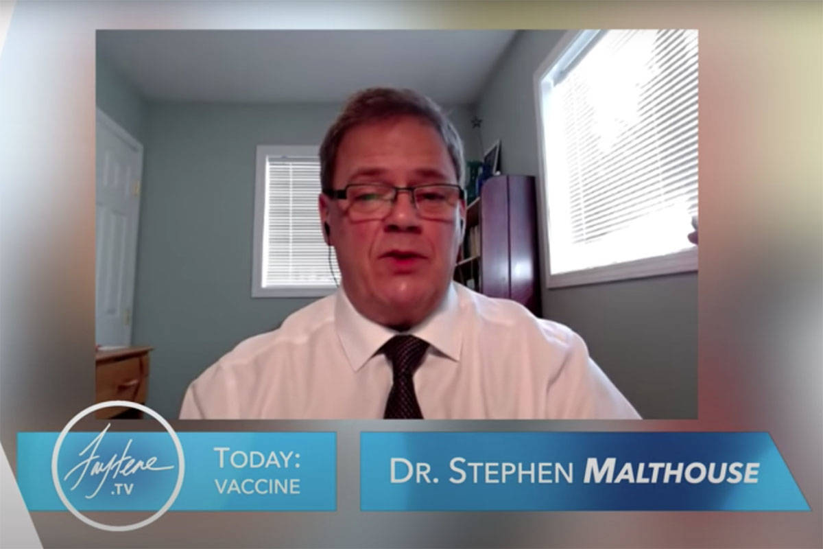 Dr. Stephen Malthouse appearing on an Internet program about vaccine choice earlier this spring. Screenshot, YouTube