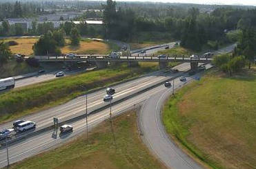 Trans Canada Highway at 264th Street in Langley, looking east around 7:30 a.m. on July 8, 2021. (Drive BC)