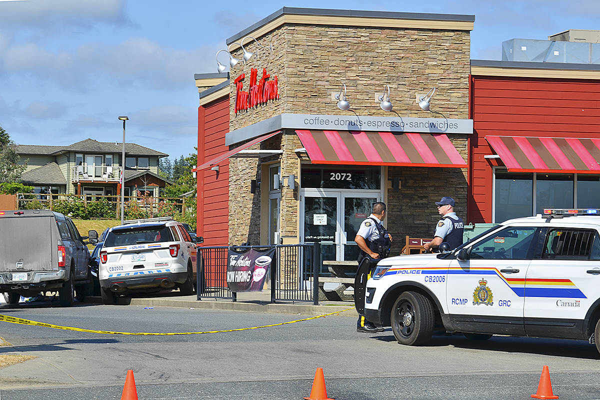 Police attended the Willow Point Tim Hortons in Campbell River for a shooting incident July 8, 2021. Photo by Alistair Taylor/Campbell River Mirror
