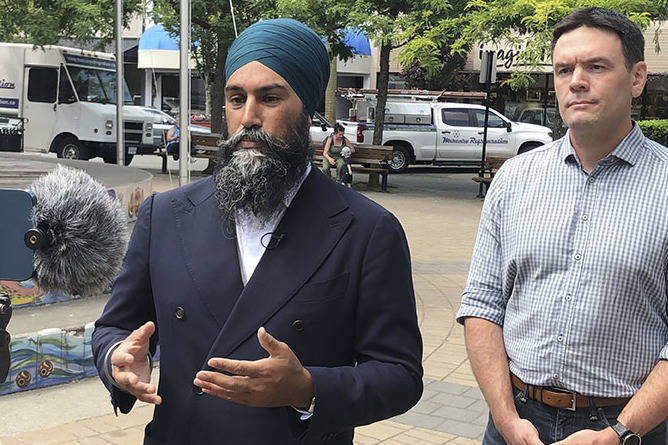 Federal NDP leader Jagmeet Singh and Cowichan-Malahat-Langford MP Alistair MacGregor speak to the media via Zoom on Thursday, July 8 as Singh kicks off his national tour with a stop in Duncan, B.C. (Kevin Rothbauer/Citizen)